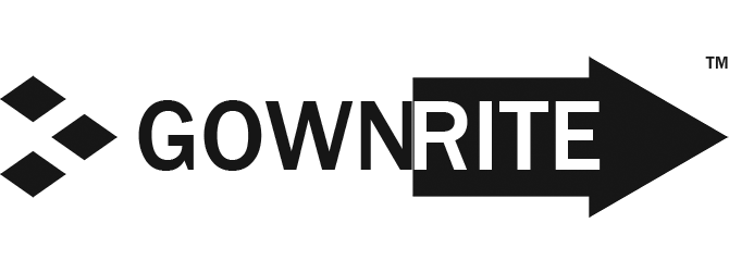 GownRite™ logo for https://www.gownrite.com gowning room products web site in black for site link