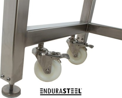 EnduraSteel™ Electropolished Stainless Steel Clean Room Water Resistant Mobile Electric Lift Table close up view of leveling foot and caster detail