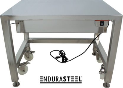 EnduraSteel™ Electropolished Stainless Steel Clean Room Water Resistant Mobile Electric Lift Table front view of control button