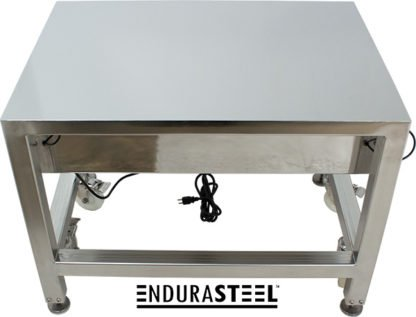 EnduraSteel™ Electropolished Stainless Steel Clean Room Water Resistant Mobile Electric Lift Table rear side view