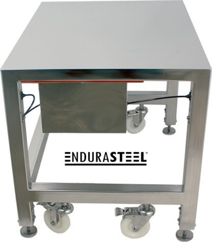 EnduraSteel™ Electropolished Stainless Steel Clean Room Water Resistant Mobile Electric Lift Table view of side showing control box gasket and table legs