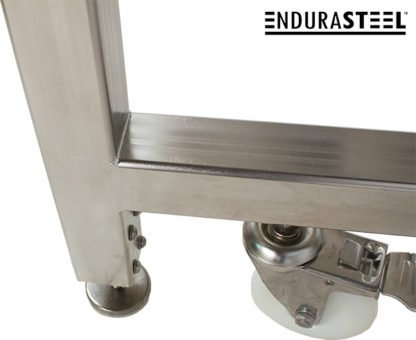 EnduraSteel™ Electropolished Stainless Steel Clean Room Water Resistant Mobile Electric Lift Table view of seamless welds on table leg