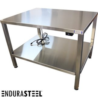 EnduraSteel™ Stainless Steel Electric Lift Table with EnduraSteel logo