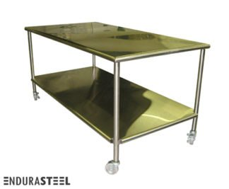 EnduraSteel™ Stainless Steel Mobile Sorting Table for semiconductor work and other research facilities shown with EnduraSteel logo