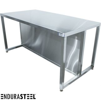 EnduraSteel™ Stainless Steel Customs Inspection Table with lower skirt and shown with EnduraSteel logo